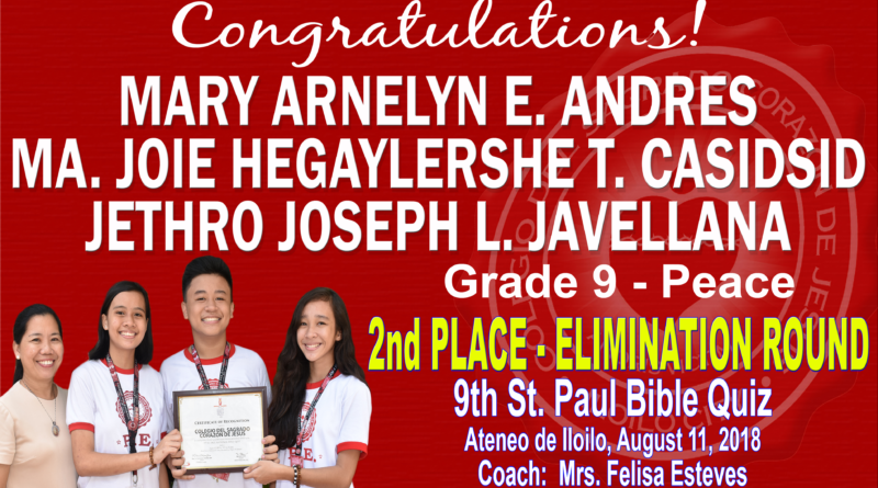 Bible Quiz – Elimination Round – 2nd Place