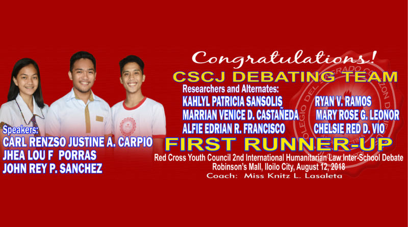 CSCJ Debating Team – First Runner-Up
