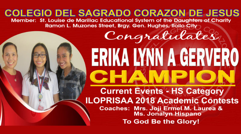 ILOPRISAA 2018 – Current Events – HS Category – Champion