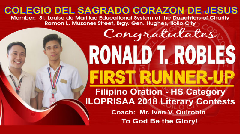 ILOPRISAA 2018 – Filipino Oration – HS Category – 2nd Runner-Up