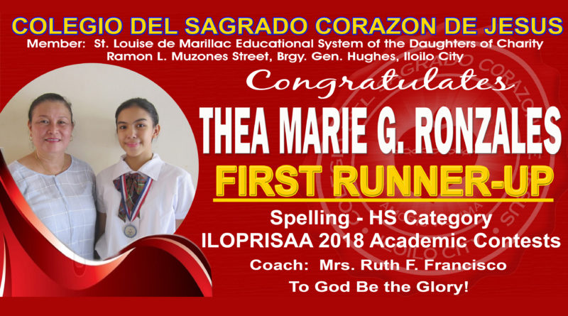 ILOPRISAA 2018 – Spelling – HS Category – 1st Runner-Up